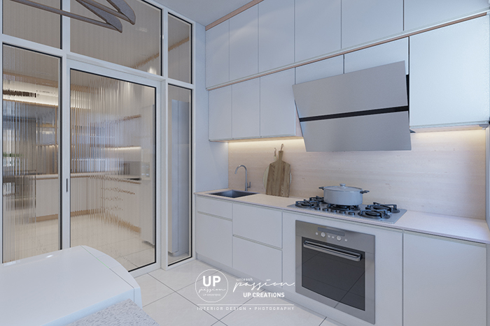 Bandar rimbayu penduline wet kitchen design in scandinavian style with wood texture kompacplus backsplash and full white color kitchen cabinet
