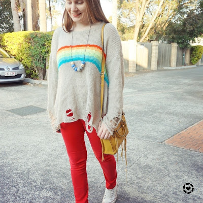 awayfromblue instagram colourful winter rainbow knit red skinny jeans outfit