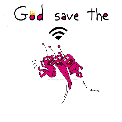 wifi pink creatures illustration