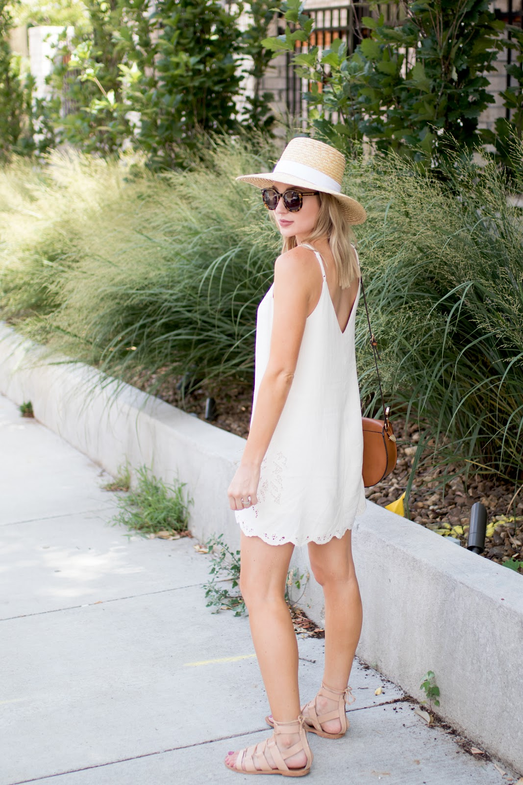 White dress with eyelet details