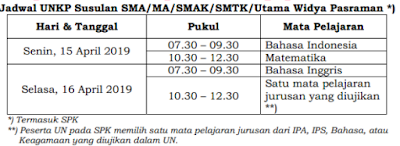 Jadwal UNKP Susulan SMK/MA/SMAK/SMTK/Utama Widya Pasraman