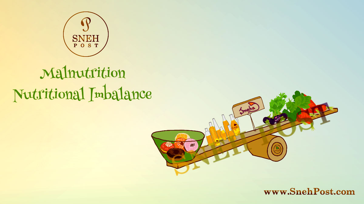Malnutrition: Nutrition imballanced food illustration