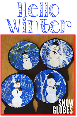 Hello Winter-Snow snowman globe marble art craft project for kids