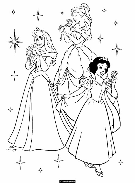 Printable Coloring Pages  Disney Princesses Aurora Belle And Snow White  With Flowers