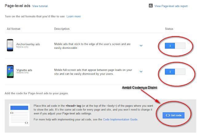 Cara Memasang Iklan Page Lavel-Ads Adsense di Blog
