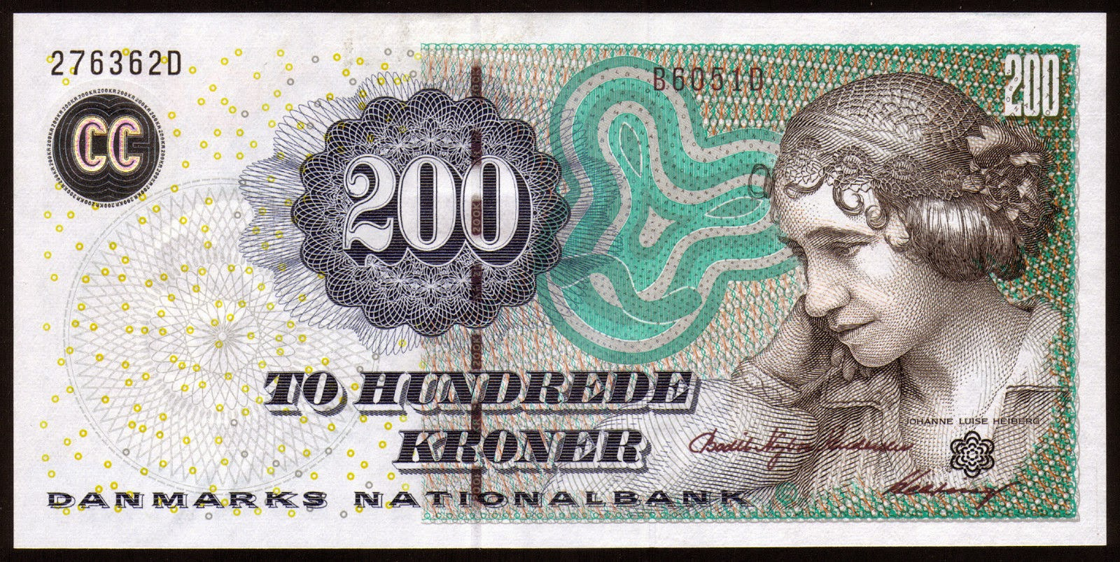Banknotes of Denmark 200 krone banknote 2005 Johanne Luise Heiberg