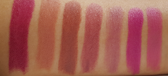 Swatches: AVON Mark - Plump it up Lipstick - Review & Swatches -  Berry Cute - Cocoa Kisses - Chocolate - Divine Wine - Mad for Mauve - Plumping Plum - Puckered Pink