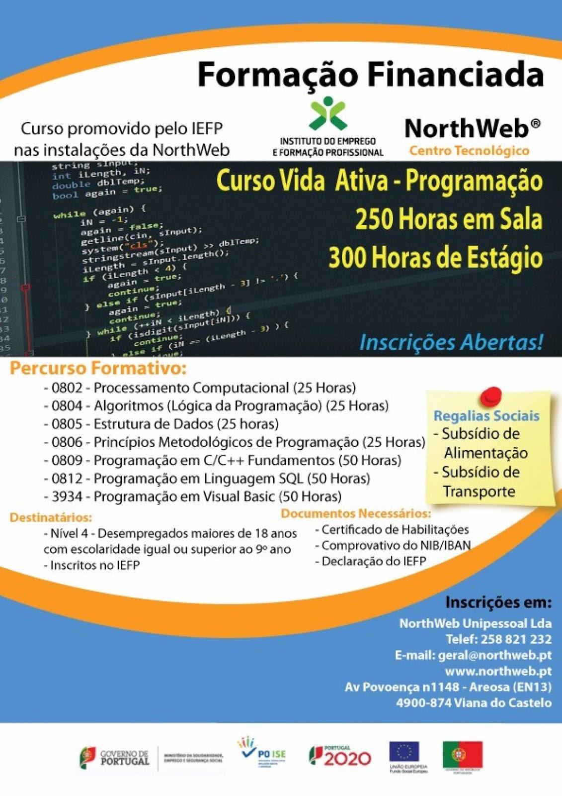 Formação financiada para desempregados/as – Viana do Castelo (Curso Vida Ativa de Programação)