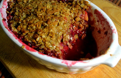 Fresh Raspberry and Apple Crumble with Lemon Zest and Sweet Oat Topping