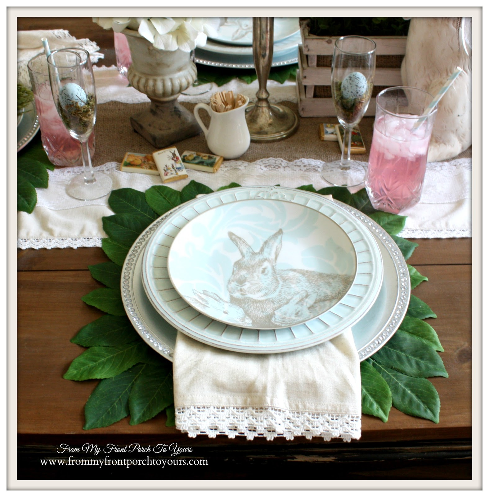Bunny Plates-French Farmhouse Easter Dining Room- From My Front Porch To Yours