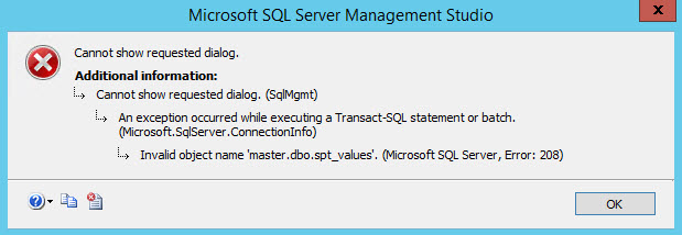 SQL SERVER – Invalid Object Name 'master.dbo.spt_values' in Management Studio