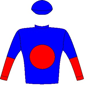 Trophy Wife - Silks - Royal blue, red spot, halved sleeves, royal blue cap - Vodacom Durban July 2016