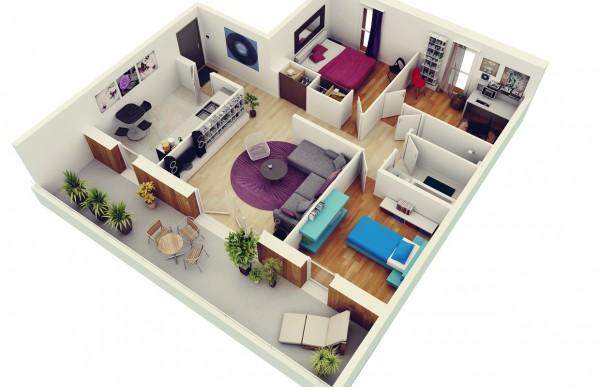 50 Denah Desain Rumah Mewah Modern 3D