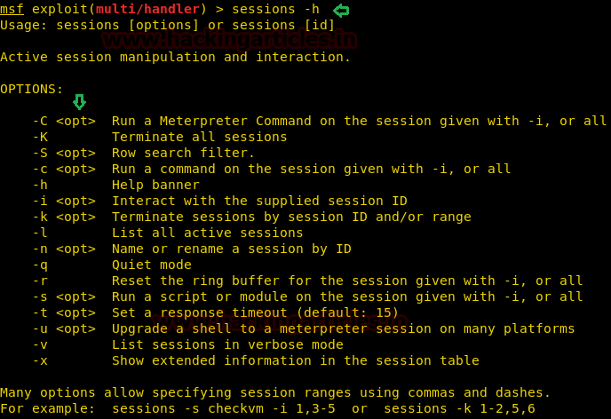 Sessions Command in Metasploit