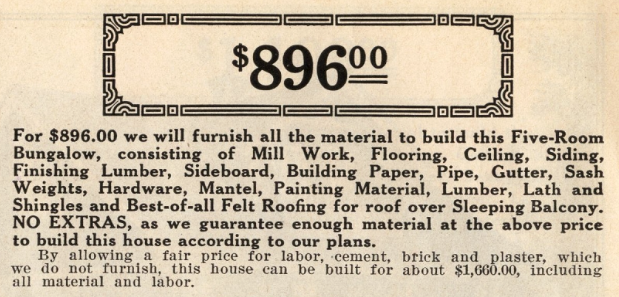 Sears Elmwood price from 1914 Sears Modern Homes catalog