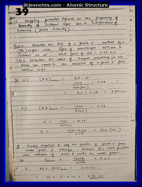 Atomic Structure Notes IITJEE6