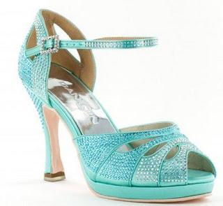 Zapato de baile Verde agua con strass de Salsaropa