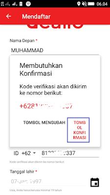 cara konfirmasi nomor hp dari aplikasi dealio android