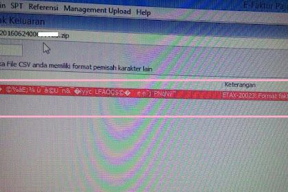 Error ETAX-20021 (Format Faktur Salah Flag Salah) Saat Import Database e-faktur