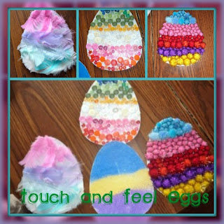 Easter Art For Toddlers that is textured with pom poms, feathers, buttons, and sand.