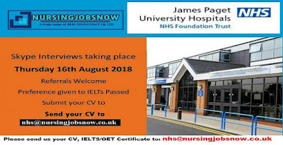 Free Recruitment to James Paget University Hospitals In UK - Skype Interview on 16th August  2018