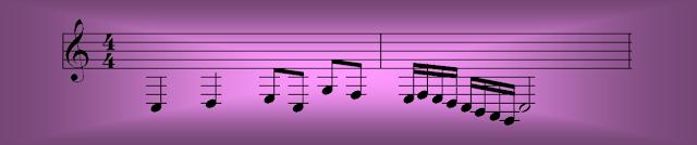 Unas cuantas notas dibujadas muy abajo en el pentagrama, sobre muchas líneas adicionales