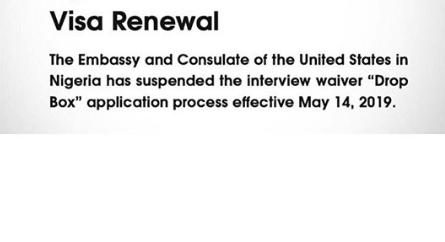 US Embassy suspends drop box application in Nigeria