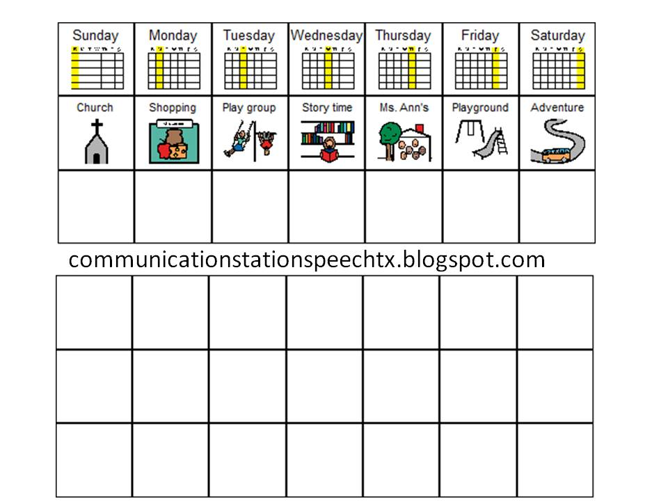 Weekly Calendar Autism : Communication station speech therapy pllc visual
