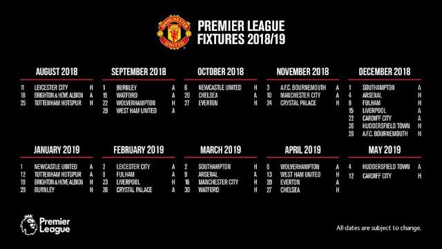 Jadwal Lengkap MU Liga Inggris 2018-2019