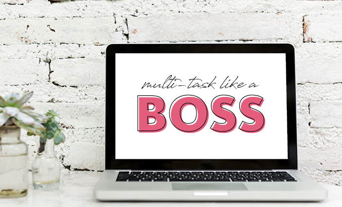 Multi-task like a boss art print on computer screen
