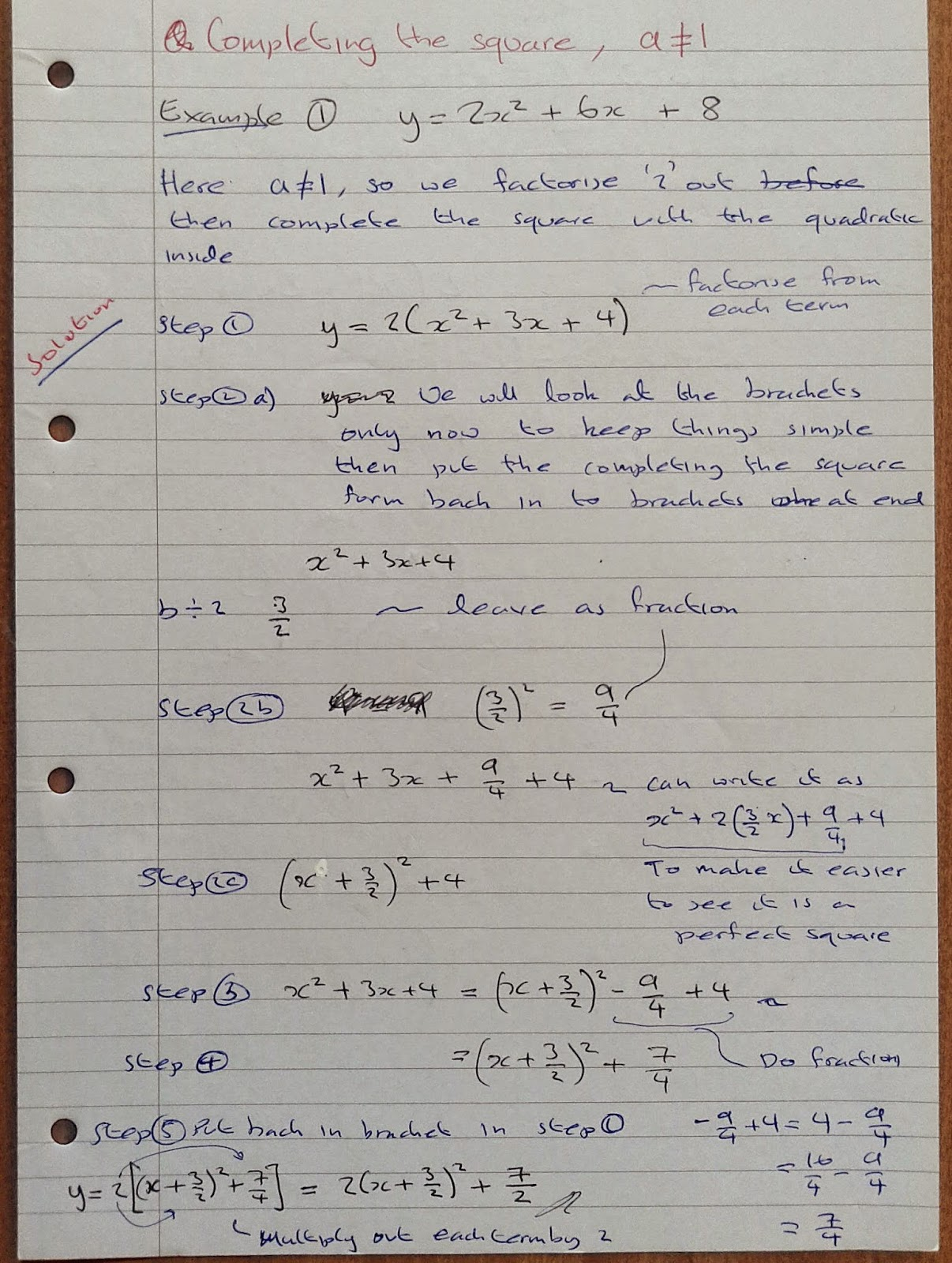 A Level Maths Notes As Quadratics Completing The Square Method Part 3