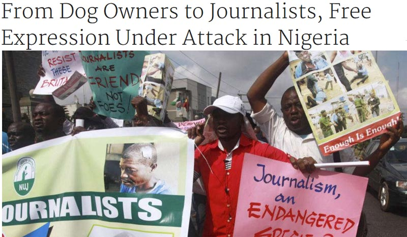 "VOA writes on Nigeria: ""From Dog Owners to Journalists, Free Expression Under Attack in Nigeria"""
