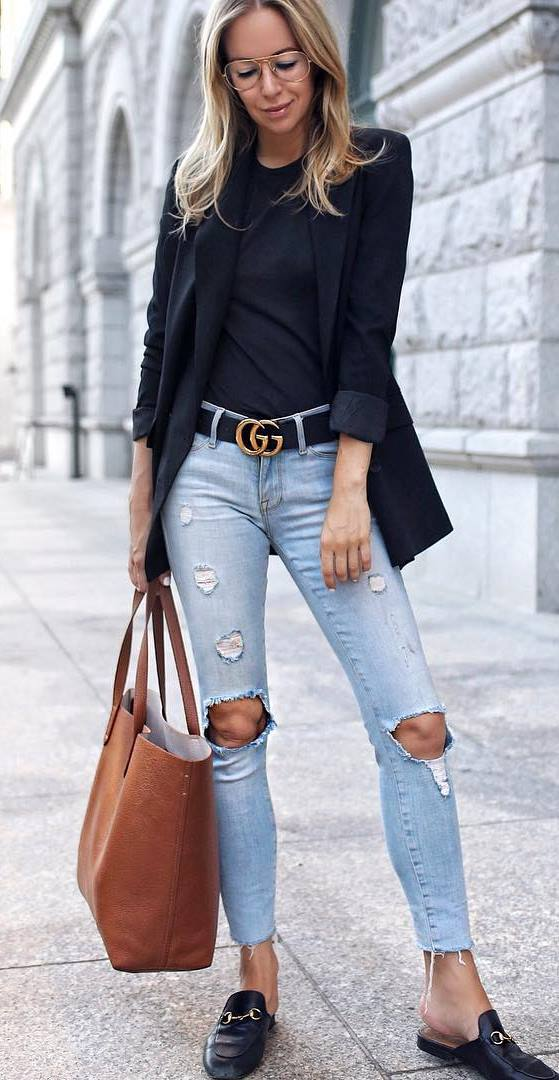 casual style inspiration : black blazer + top + bag + rips + loafers