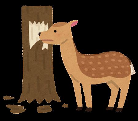 シカの食害のイラスト(木)