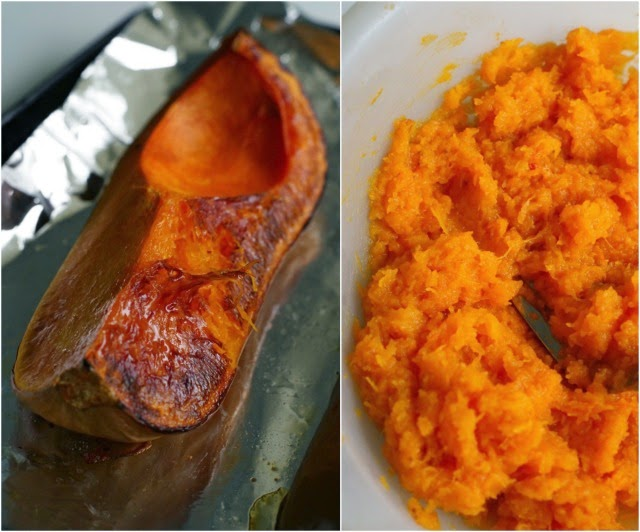 Roast and mash butternut squash for Cinnamon Crunch Butternut Squash Muffins