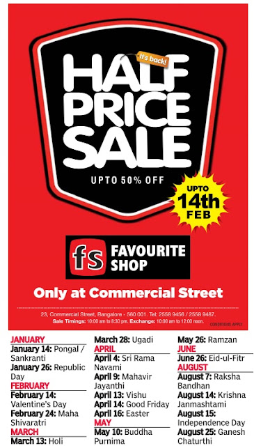 Half price sale in Favourite Shop @ Bangalore  | Januray 2016 discount offers
