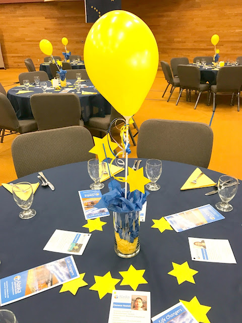 Simple centerpiece for a fundraising event.
