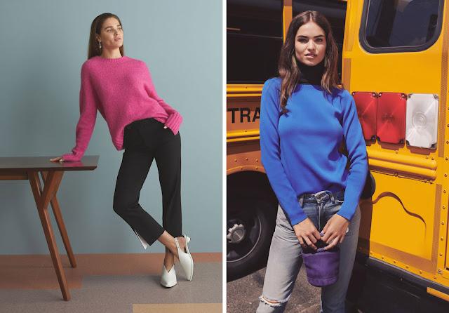 Яркий розовый и синий свитер с базовыми брюками