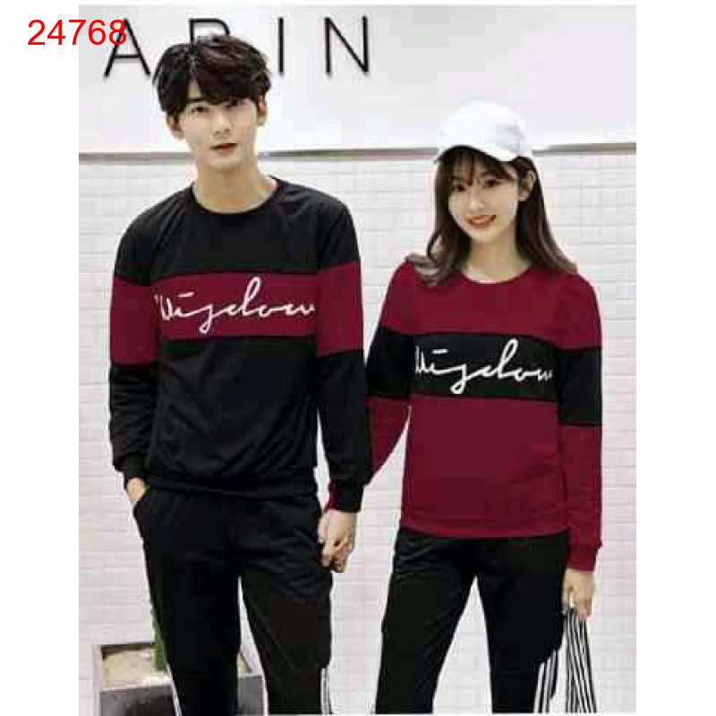 Jual Sweater Couple Sweater Wisdom Cross Maroon Black - 24768