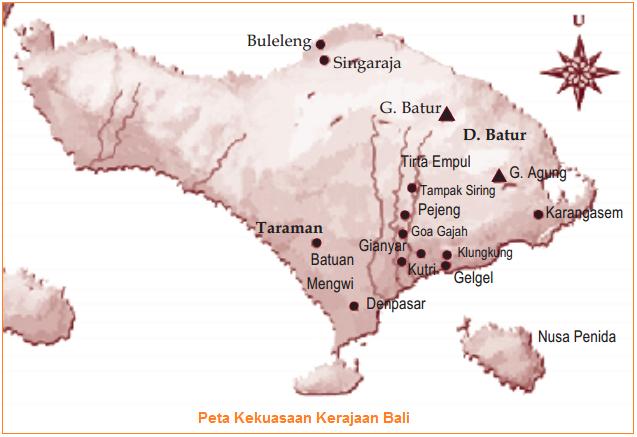 Peta Kekuasaan Kerajaan Bali - Kerajaan Bali (Prasasti Sumber Sejarah, Raja-Raja, Runtuhnya, dan Ciri Masyarakat Bali)
