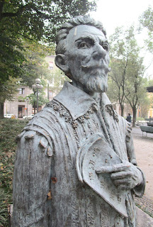 This bust of Monteverdi can be found in the John Paul II public gardens