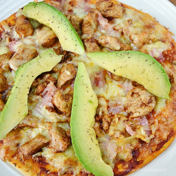 """Chicken Bacon and Avocado Pizza ~ Quick, easy & the most popular Pizza topping combination in this Chicken Bacon and Avocado Pizza which is """"semi-homemade"""""""