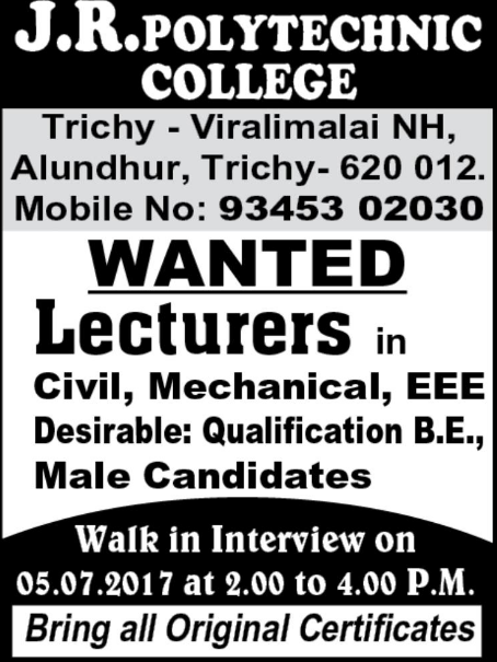 J R Polytechnic College Wanted Lecturers