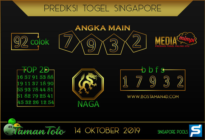 Prediksi Togel SINGAPORE TAMAN TOTO 14 OKTOBER 2019