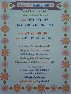 เด่นบน  973  73  97 574  740  741  780  781 เด่นล่าง  80  รอง  60  86 รองบน-ล่าง  41  42  43  49  74