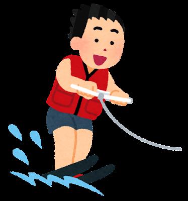水上スキーのイラスト(ペアスキー)