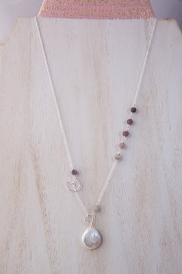 asymmetrical handmade pendant necklace white coin pearl purple grey ombre arrow statement