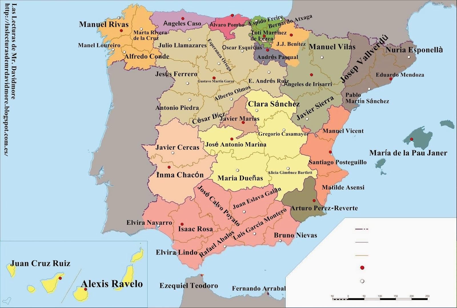 Mapa Provincial De España.Las Lecturas De Mr Davidmore Mapa Provincial Literario De