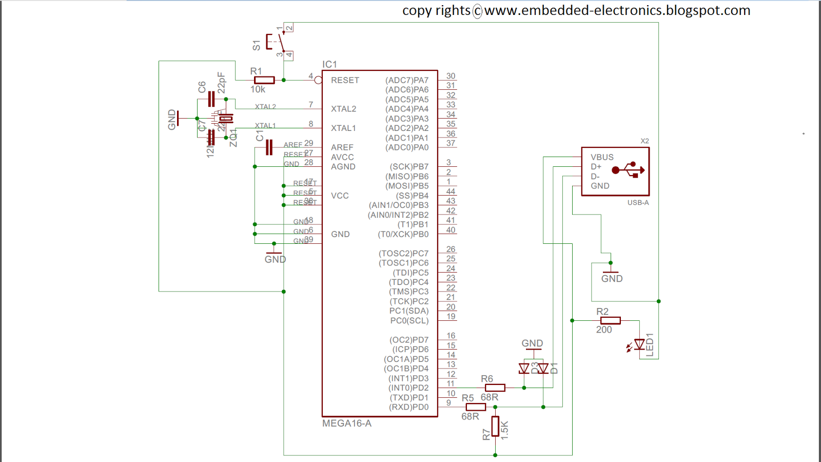 Embedded Electronics Atmega16a 32 Usb Boot Loader Circuit