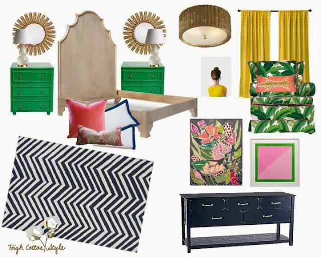 Navy, merald green, yellow and pink bedroom design scheme